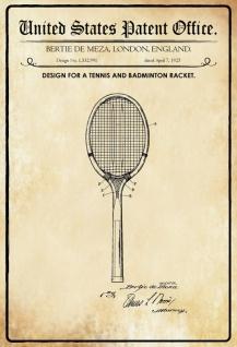 Blechschild Patent Entwurf Badmintonschläger-Meza Metallschild Wanddeko 20x30 cm tin sign