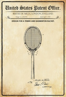 US Patent Office - Design for a Tennis and Badminton Racket - Entwurf für ein Tennis- und Badmintonschläger - Meza, London 1925 - Design No 1.532.991 - Blechschild