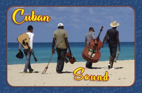 Blechschild Cuba Sound- Band am Strand Metallschild Wanddeko 20x30 cm tin sign