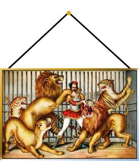 Blechschild Zirkus Löwe Metallschild Deko 20x30 tin sign mit Kordel