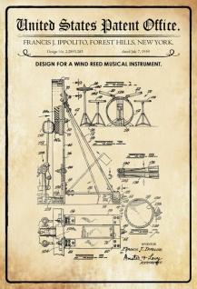 US Patent Office - Design for a Wind Reed Musical Instrument - Entwurf für einen Wind Reed Musikinstrument - Ippolito - 1959 - Design No 2.2893283 - Blechschild