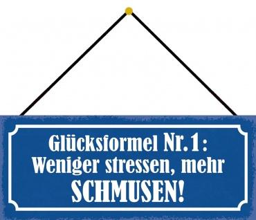 Schatzmix Blechschild Spruch Glücksformel Nr. 1 Metallschild Wanddeko 27x10 cm mit Kordel
