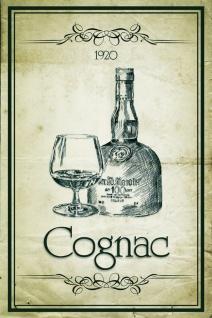 Schatzmix Blechschild cognac 1920 Metallschild 20x30 cm Wanddeko tin sign