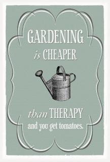 Gardening is cheaper than therapy Metallschild Wanddeko 20x30 cm tin sign