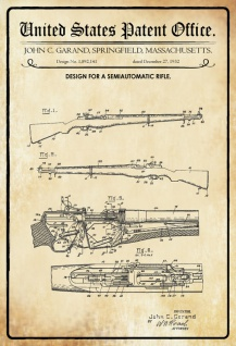 US Patent Office - Design for Semiautomatic Rifle - Entwurf für Halbautomatisches Gewehr - Garand, Massechusetts 1932 - Design No 1.892.141 - Blechschild