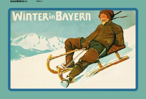 Winter in Bayern ski fahren schlitte blechschild