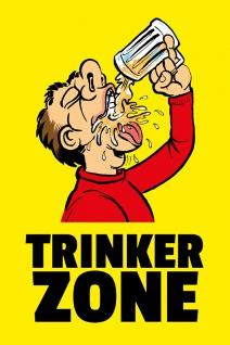 """ Trinkerzone"" blechschild, lustig, comic, metallschild,"