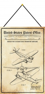 Blechschild Patent Entwurf Doppeldecktransportflugzeug Deko 20 x 30 m.Kordel