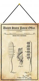 Blechschild Patent Entwurf für eine Haarbürste Metallschild 20 x 30 m.Kordel