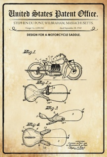 US Patent Office - Design for A Motorcycle Saddle - Entwurf für ein Motorradsattel - Du Pont, Massachusetts 1943 - Design No 2.330.341 - Blechschild