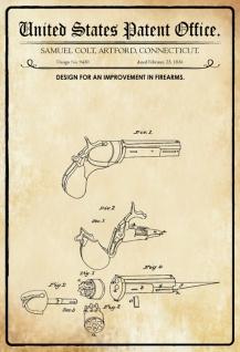 US Patent Office - Design for Improvement in Firearms - Entwurf für Verbesserung der Schusswaffen - Colt, Connecticut 1836 - Design No 9430 - Blechschild