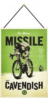 Blechschild Fahrrad Mark Cavendish Manx Metallschild Wanddeko 20x30 mit Kordel