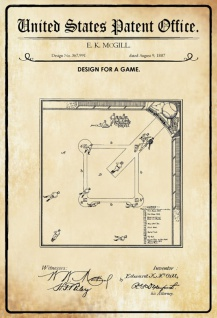 US Patent Office - Design for a Game - Entwurf für eine Spiel - McGill, 1887 - Design No 367.991 - Blechschild