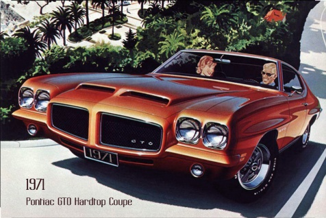 Pontiac GTO Hardtop 1971 Auto reklame blechschild, us, rot, sportwagen