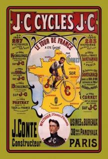 Nostalgie: JC Cycles Le Tour de France Blechschild 2x30 cm