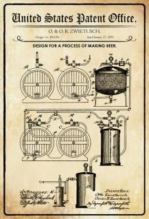 Blechschild Patent Entwurf für die Bierherstellung Metallschild Wanddeko 20x30 cm tin sign