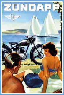 Zündapp Motorrad, Frau in bikini am See blechschild