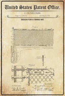 Blechschild Patent für ein Tennis Netz Metallschild 20x30 Deko tin sign