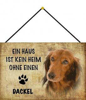 Blechschild Hund Kein Heim ohne Dackel Metallschild Wanddeko 20x30 m. Kordel