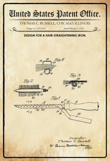 US Patent Office - Design for a Hair Straightening Iron - Entwurf für ein Glättesisen - Russell, Illinois 1926 - Design No 1.572.161 - Blechschild