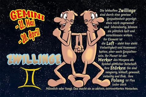 Zwillinge Gemini sternzeichen tierkreis... lustig blechschild comic