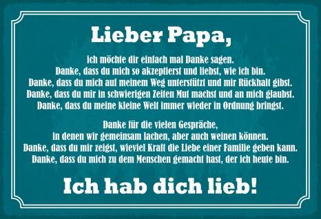 Blechschild Spruch Lieber Papa Metallschild Wanddeko 20x30 cm tin sign