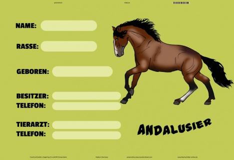 Blechschild Andalusier (Name, Besitzer...) Metallschild Wanddeko 20x30 tin sign