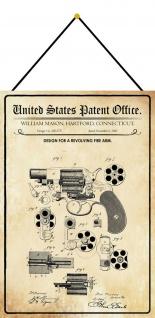 Blechschild Patent Entwurf für Revolverwaffe Metallschild Deko 20 x 30 m.Kordel