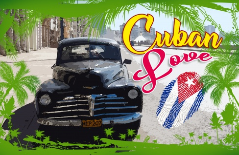 Blechschild Cuba Love Auto, Fingerabdruck Metallschild Wanddeko 20x30 cm tin sign