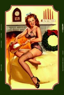 pinup / pin up sexy frau weihnachten stocking blechschild