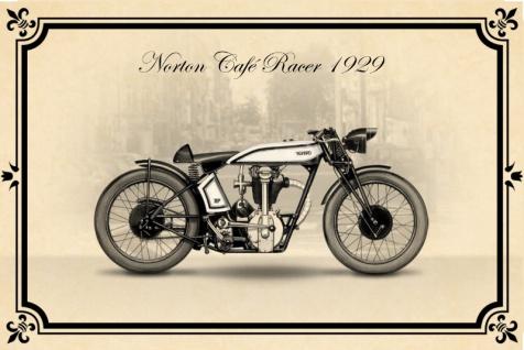 Norton Cafe racer 1929 Motorrad blechschild reklame retro nostalgie, zweirad, mofa, moped