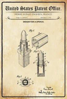 US Patent Office - Design for a Lipstick - Entwurf für ein Lippenstift - Suinat, France, 1952 - Design No 2.600.811 - Blechschild
