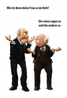 Blechschild Spruch Waldorf & Statler Frau im Bett? Metallschild Wanddeko 20x30 cm tin sign
