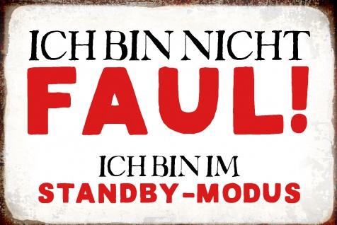 Blechschild Spruch Ich bin im Standby- modus Metallschild Wanddeko 20x30 cm tin sign