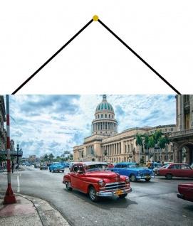 Blechschild Auto Oldtimer Cuba Havanna Metallschild Wanddeko 20x30 mit Kordel