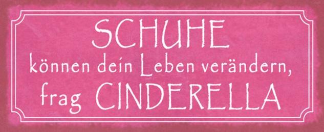 Blechschild Spruch Schuhe Leben frag Cinderella Metallschild 27x10 cm Wanddeko tin sign