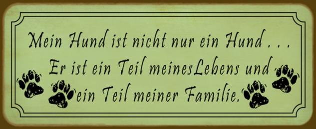 Blechschild Spruch Mein Hund ist Teil meiner Familie grünes Metallschild 27x10 cm Wanddeko tin sign