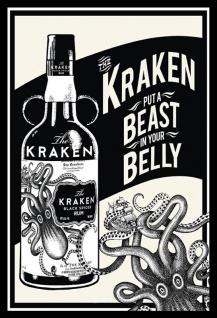 Kraken spiced rum, beast in your belly Blechschild 20x30 cm