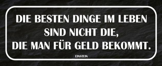 Blechschild Spruch Leben Dinge nicht für Geld Metallschild 27x10 cm Wanddeko tin sign