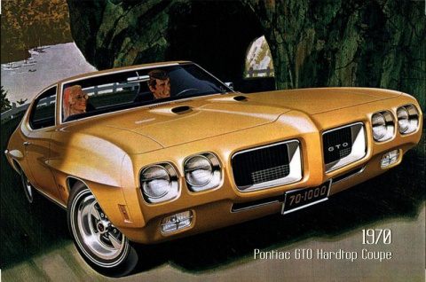 Pontiac GTO Hardtop Coupe 1970 Auto reklame blechschild, us, braun, sportwagen