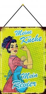 Blechschild Spruch Meine Küche mein Revier Metallschild Deko 20x30 mit Kordel