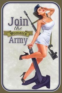 Schatzmix Blechschild Pinup military girl join the womans army Metallschild 20x30 cm Wanddeko tin sign
