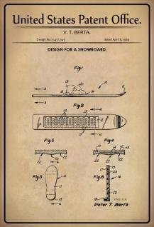 Blechschild Patent Entwurf für Sbowboard- Berta Metallschild Wanddeko 20x30 cm tin sign