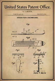 US Patent Office - Design for a Snowboard - Entwurf für einen Sbowboard - Berta - 1969 - Design No 3.437345 - Blechschild