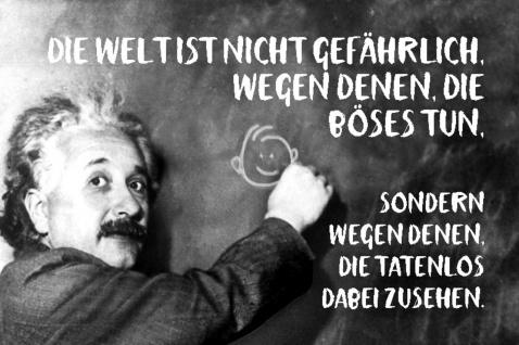 Blechschild Spruch Die Welt ist nicht gefährlich Einstein Metallschild Wanddeko 20x30 cm tin sign