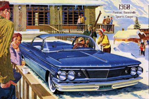Pontiac Bonneville Sports Coupe 1960 Auto reklame blechschild, us, blau