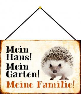 Blechschild Igel Mein Haus! Mein Garten! Metallschild Wanddeko 20x30 m. Kordel