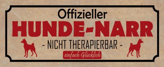 Blechschild Spruch Hund Hunde Narr Metallschild 27x10 cm Wanddeko tin sign