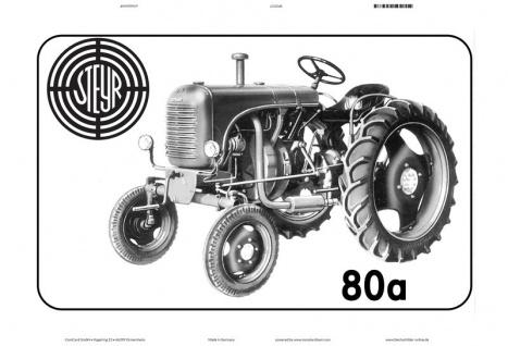 Steyr 80a schwarz weiß traktor Trekker Schlepper blechschild