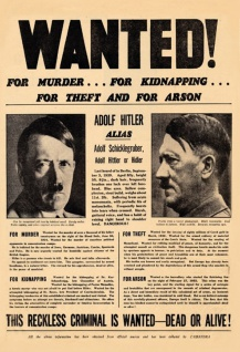 Wanted for murder Hitler Daily Mirror 4/09/1939 Blechschild 20x30 cm